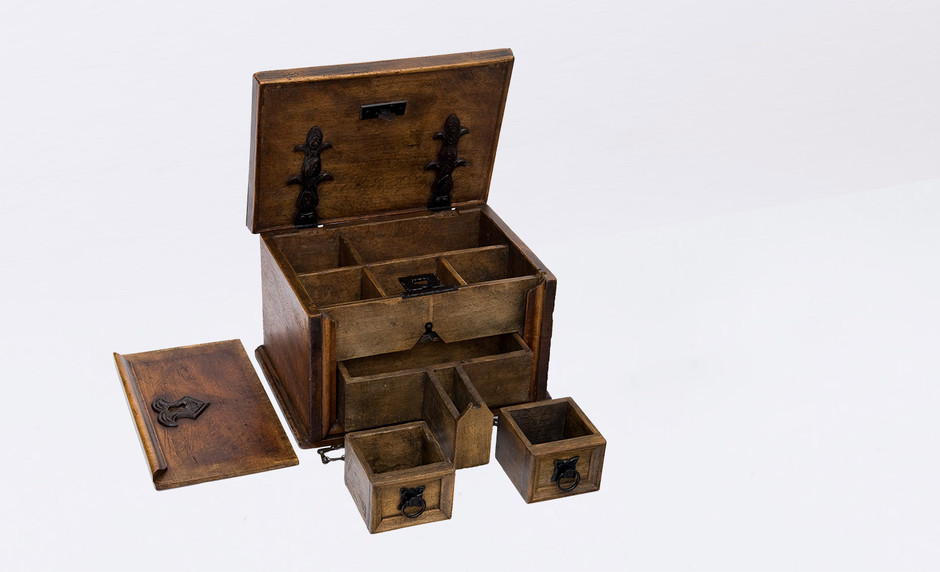 Luther's supposed writing box, made from wood, early 16th century