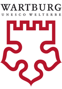 "The Wartburg Castle Foundation's logo combines a red Luther rose in the lower part with castle battlements on top. Above it are the words ""Wartburg UNESCO."""