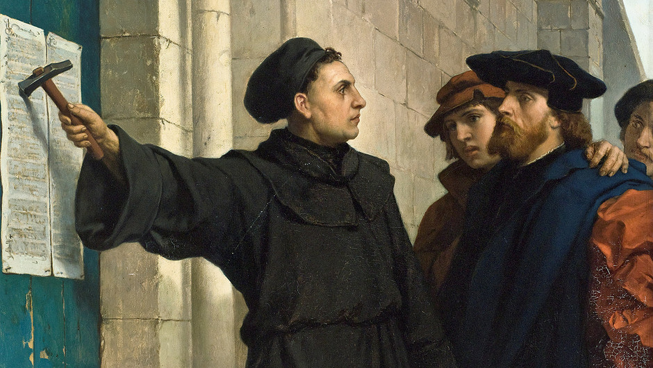 "Paintings by Ferdinand Pauwels from 1872, titled ""Luther Posting the 95 Theses."" They show Martin Luther hammering his 95 Theses to the door of Wittenberg's Castle Church (also known as Schlosskirche), as other people look on."